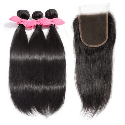 USA Stock 3 Bundles Straight Brazilian Virgin Hair 300g With 4*4 Straight Free Part Lace Closure