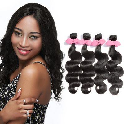 "USA Stock 10""-30"" 4 Bundles Body Wavy Virgin Brazilian Hair Natural Black 400g"