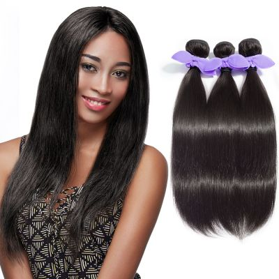 USA Stock 3 Bundles Straight 8A Malaysian Virgin Hair Natural Black 300g