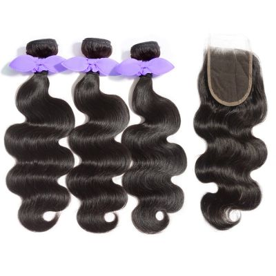 USA Stock 3 Bundles Body Wavy 8A Malaysian Virgin Hair 300g With 4*4 Free Part Lace Closure