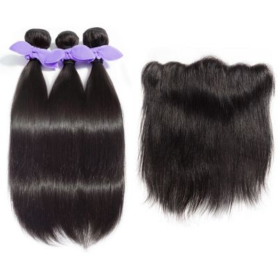 USA Stock 3 Bundles Straight 8A Malaysian Virgin Hair 300g With 13*4 Free Part Lace Frontal