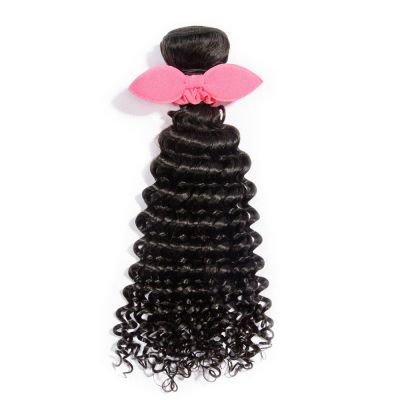 10 Inch - 30 Inch Virgin Brazilian Remy Hair Weft Deep Curly Natural Black 100g