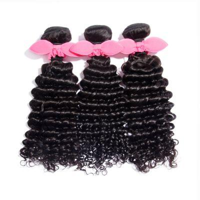 "10""-30"" 3 Bundles Deep Curly Virgin Brazilian Hair Natural Black 300g"