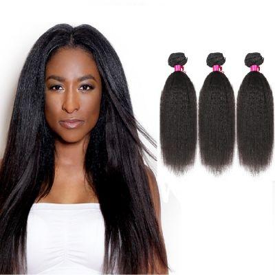 "10""-26"" 3 Bundles Kinky Straight Virgin Brazilian Hair Natural Black 300g"
